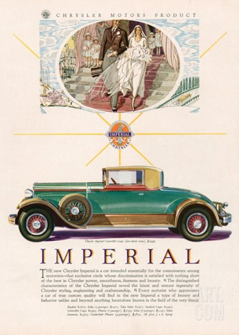 Imperial chrysler, Magazine Advertisement, USA, 1929 Stretched Canvas Print
