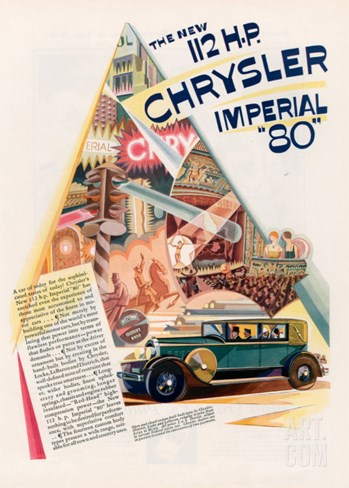Chrysler Imperial, Magazine Advertisement, USA, 1928 Stretched Canvas Print