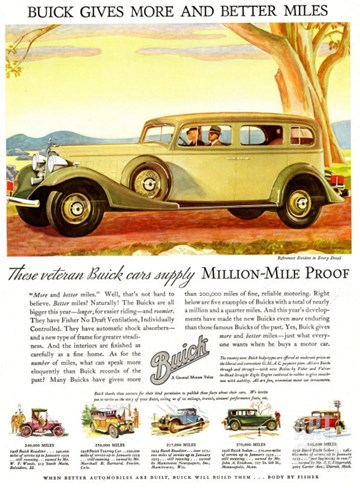 Buick Division of General Motors, Magazine Advertisement, USA, 1930 Stretched Canvas Print