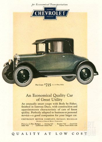 Chevrolet, Magazine Advertisement, USA, 1925 Stretched Canvas Print