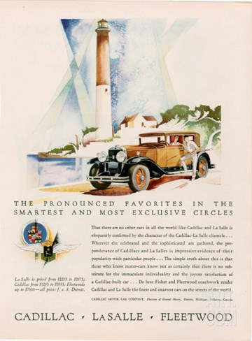 Cadillac La Salle, Magazine Advertisement, USA, 1929 Stretched Canvas Print