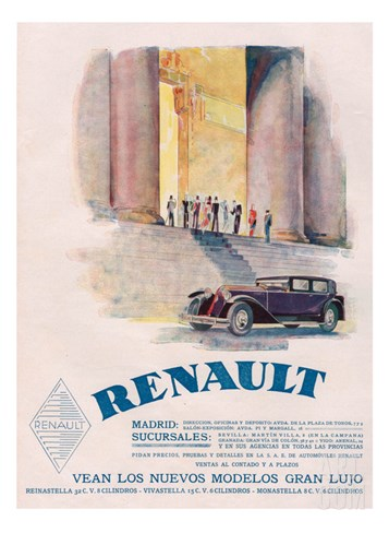 Renault, Magazine Advertisement, USA, 1930 Stretched Canvas Print