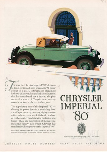 Chrysler Imperial, Magazine Advertisement, USA, 1927 Stretched Canvas Print