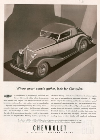 Chevrolet, Magazine Advertisement, USA, 1933 Stretched Canvas Print
