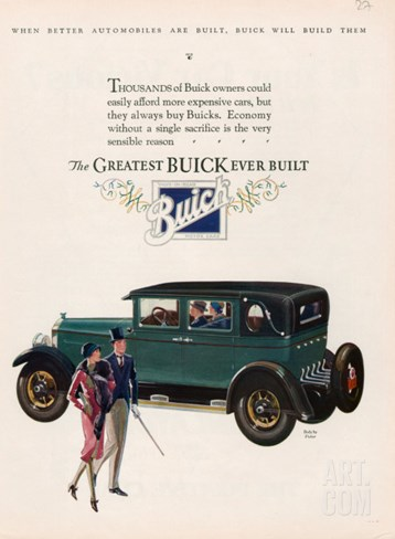 Buick, Magazine Advertisement, USA, 1927 Stretched Canvas Print