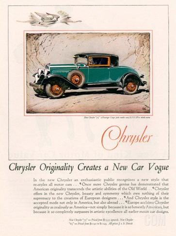 Chrysler, Magazine Advertisement, USA, 1928 Stretched Canvas Print