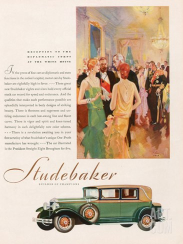 Studebaker, Magazine Advertisement, USA, 1929 Stretched Canvas Print