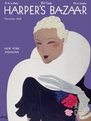 Harper's Bazaar, November 1932 Stretched Canvas Print