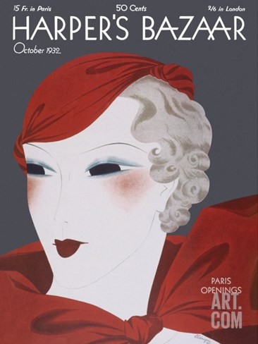 Harper's Bazaar, October 1932 Stretched Canvas Print