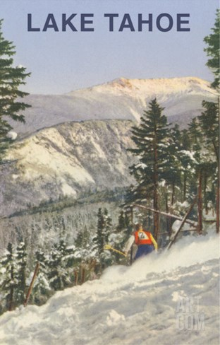 Skier, Lake Tahoe Stretched Canvas Print