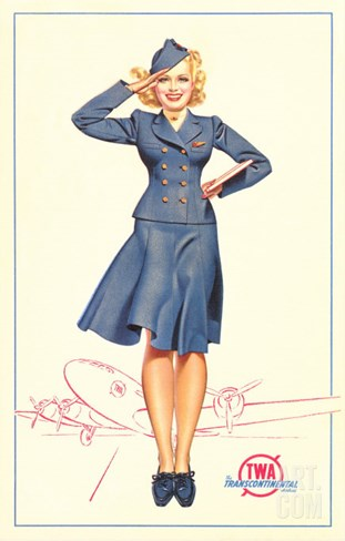 Pert Uniformed Stewardess Saluting Stretched Canvas Print