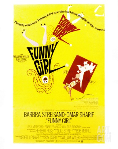 Funny Girl, Barbra Streisand, Omar Sharif, 1968 Stretched Canvas Print
