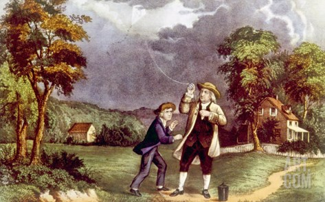 Benjamin Franklin Demonstrating the Identity of Lightning and Electricity, June 1752 Stretched Canvas Print