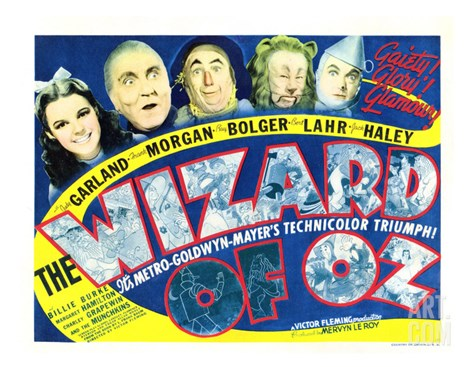 Wizard of Oz, Judy Garland, Frank Morgan, Ray Bolger, Bert Lahr, Jack Haley, 1939 Stretched Canvas Print