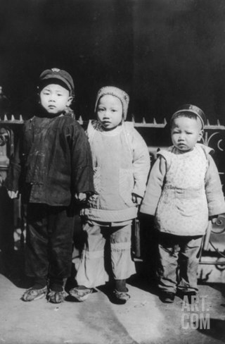 Chinese New Year, Three Children Posed, New Year's Day, Chinatown, New York City, 1909 Stretched Canvas Print