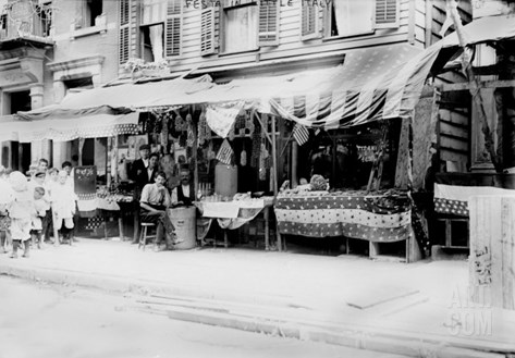 New York City, Italian Wares on Display in Front of Shops in Little Italy, Early 1900s Stretched Canvas Print