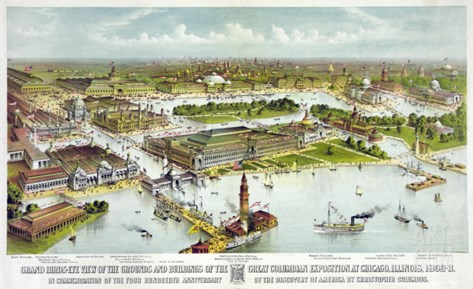 World's Columbian Exposition, Chicago: Grand Birds-Eye View of the Grounds and Buildings, 1892 Stretched Canvas Print