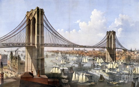 Brooklyn Bridge, Connecting the Cities of New York and Brooklyn Stretched Canvas Print