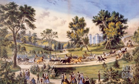 Central Park, the Grand Drive, 1869 Stretched Canvas Print