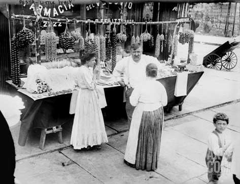 New York City, Vendor with Wares Displayed, Little Italy, 1900s Stretched Canvas Print