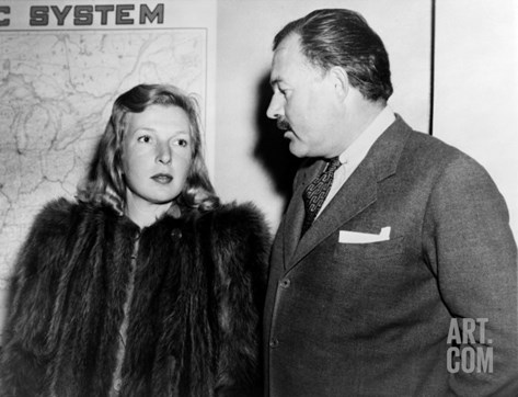 Ernest Hemingway and Journalist Martha Gellhorn, Traveling Together Shortly after their Wedding Stretched Canvas Print
