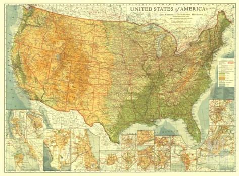 1923 United States of America Map Stretched Canvas Print