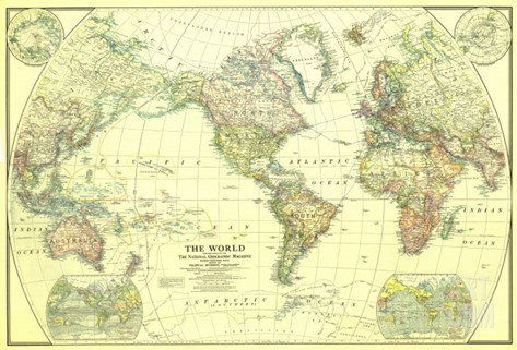 1922 World Map Stretched Canvas Print