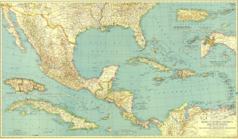 1934 Mexico, Central America and the West Indies Map Stretched Canvas Print