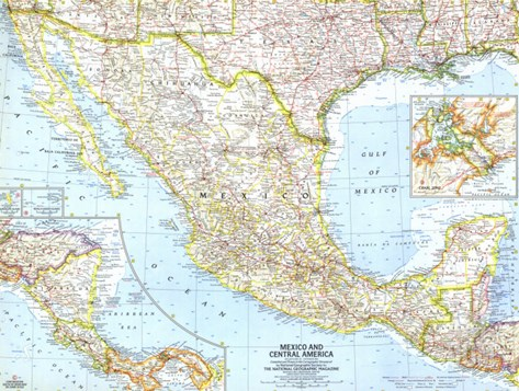 1961 Mexico and Central America Map Stretched Canvas Print