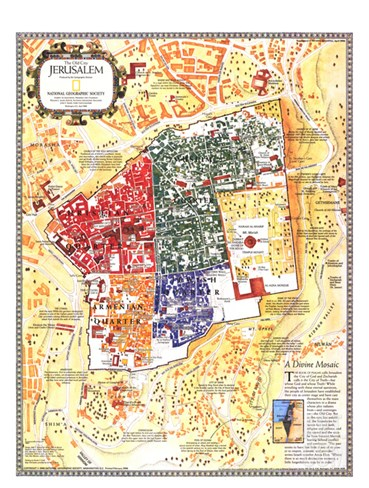 1996 Jerusalem, the Old City Map Stretched Canvas Print