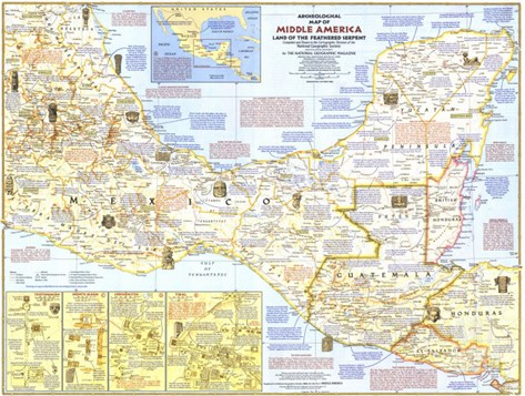 1968 Archeological Map of Middle America Stretched Canvas Print