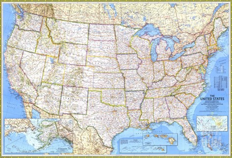 1987 United States Map Stretched Canvas Print