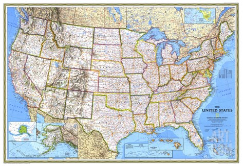 1993 United States Map Stretched Canvas Print