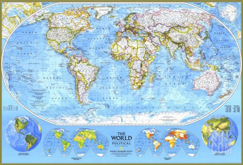 1994 World Political Map Stretched Canvas Print