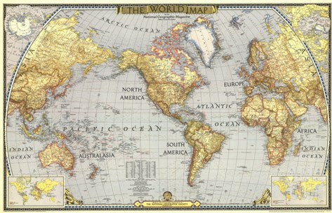 1943 World Map Stretched Canvas Print