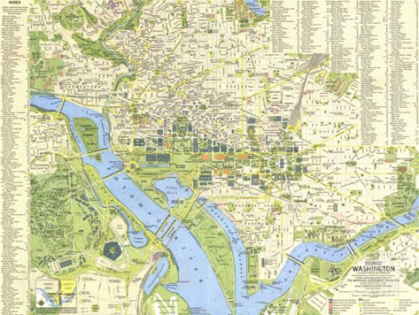 1964 Tourist Washington Map Stretched Canvas Print