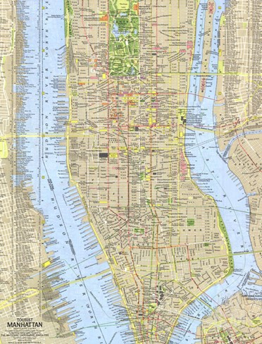 1964 Tourist Manhattan Map Stretched Canvas Print