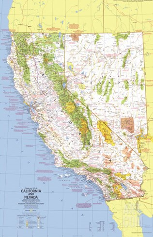 1974 Close-up USA, California and Nevada Map Stretched Canvas Print