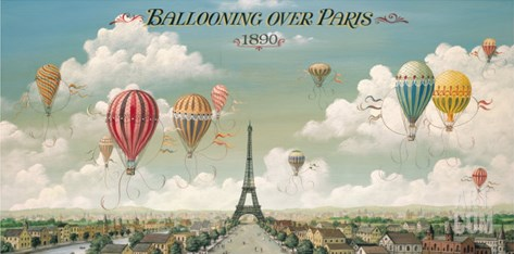 Ballooning Over Paris Stretched Canvas Print