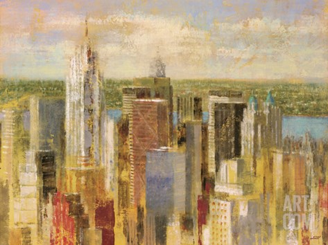 Cityscape II Stretched Canvas Print