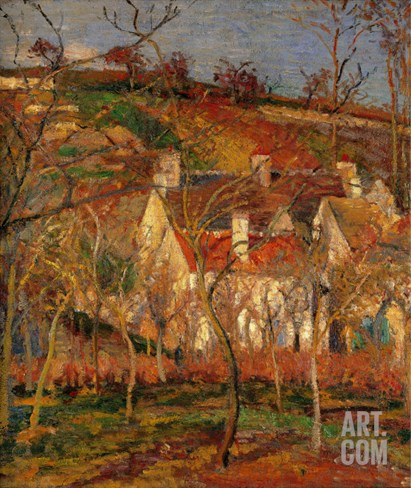 Red Roofs, Corner of a Village, Winter Stretched Canvas Print