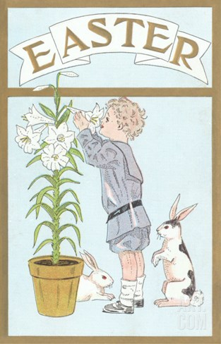 Victorian Boy Smelling Easter Lilies, Rabbits Stretched Canvas Print