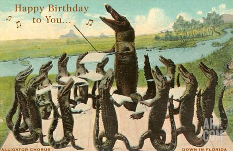 Alligator Chorus Singing Happy Birthday Stretched Canvas Print