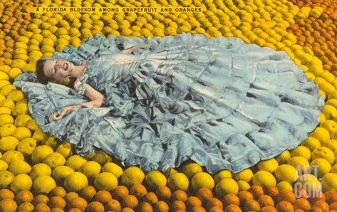 Southern Belle Lying on Oranges, Florida Stretched Canvas Print