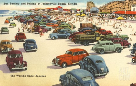 Cars on Beach, Jacksonville, Florida Stretched Canvas Print