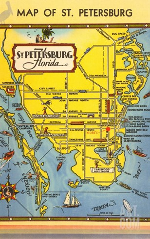 Map of St. Petersburg, Florida Stretched Canvas Print