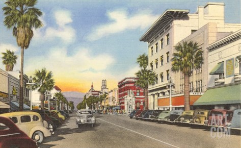 Main Street, Riverside, California Stretched Canvas Print
