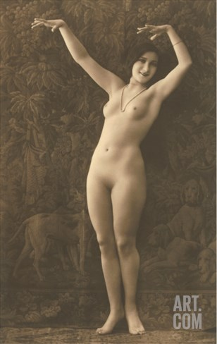 Exotic Vintage Nude Stretched Canvas Print