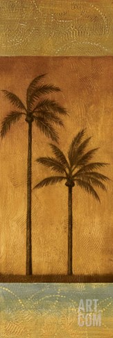Golden Palm II Stretched Canvas Print
