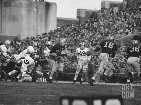 Navy Quaterback, George Welsh, Reaching Out to Complete Pass, During Army-Navy Game Stretched Canvas Print